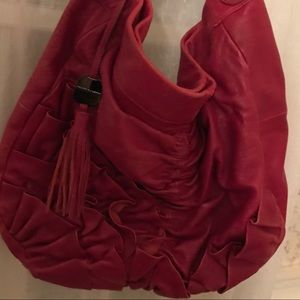 Vince Camuto Leather Tasseled Hobo Satchel